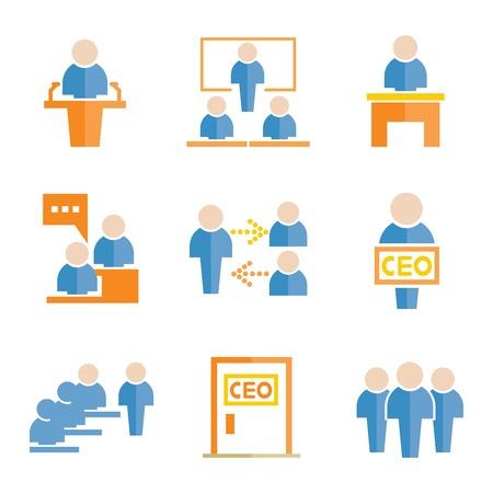 dealings: business management icons Illustration