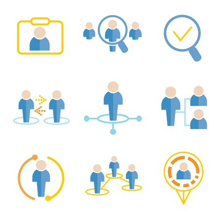 human resource management: business management icons Illustration