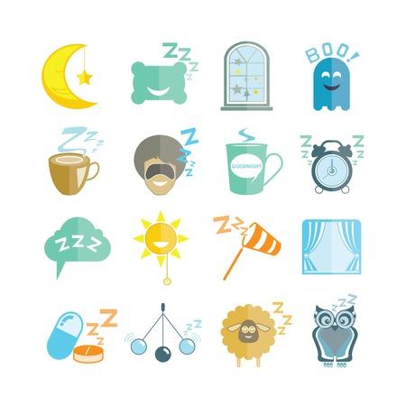sonne mond und sterne: Schlaf-Ikonen Illustration
