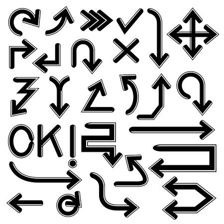 flechas curvas: flechas del doodle Vectores