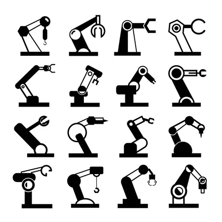robots: industrial robot arm icons Illustration