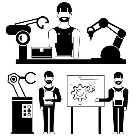 ensamblaje: ingeniero industrial y el brazo robótico