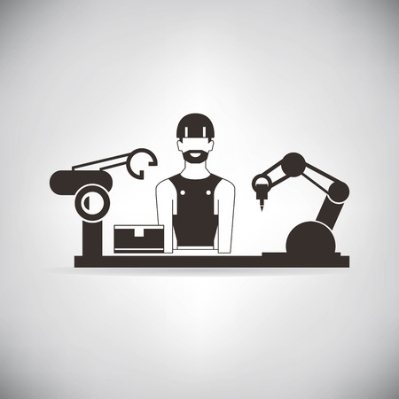 production line factory: manufacturing engineer control robotic hand