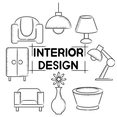 writing chair: interior design Illustration