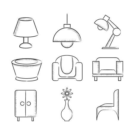 pencil: furniture icons Illustration