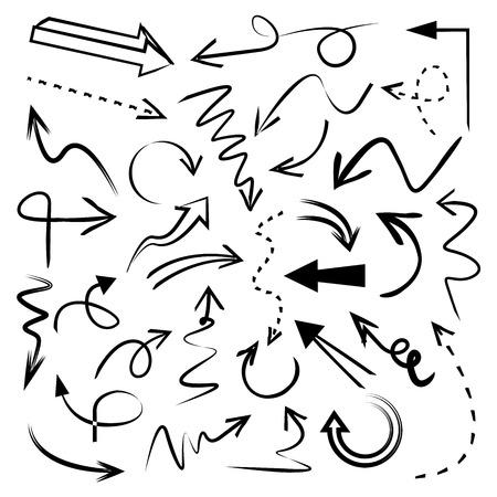 落書き矢印カーブ矢印  イラスト・ベクター素材