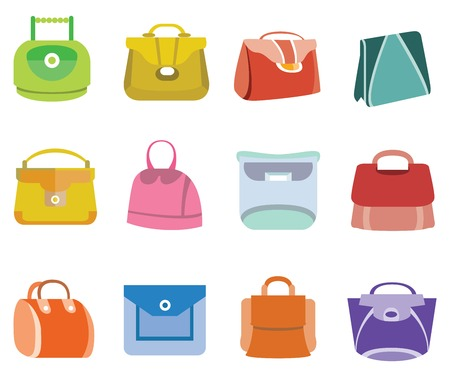 reticule: fashion bag icons Illustration