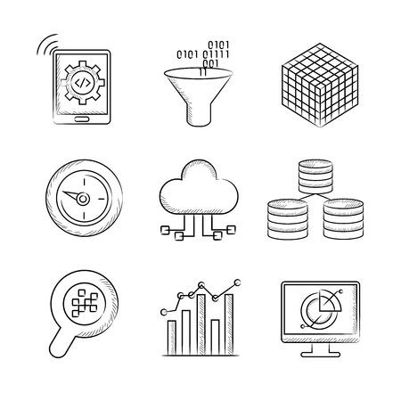 compute: analytics big data icons