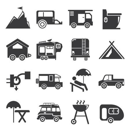rv: camper van icons