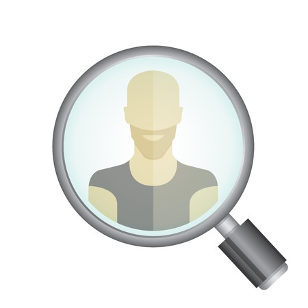 research worker: magnifier glass and a man