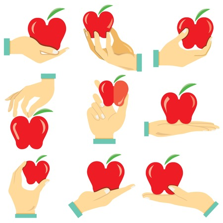 hand holding: hand holding apple Illustration