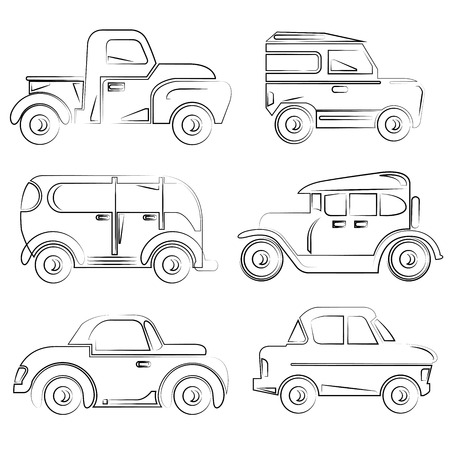 coupe: hand drawn vintage car