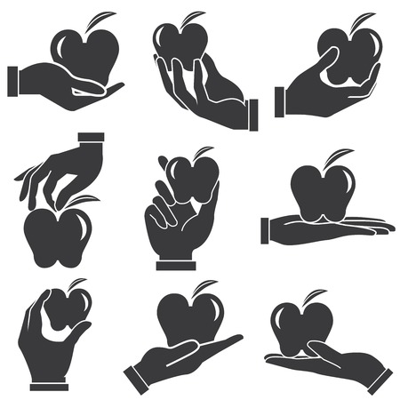 giving: hand holding apple Illustration