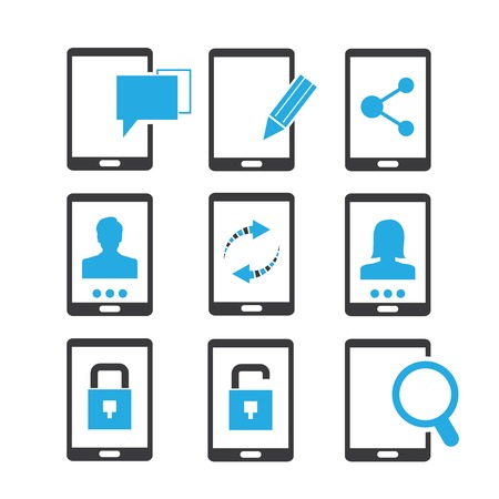 smart phone icons blue theme Vector