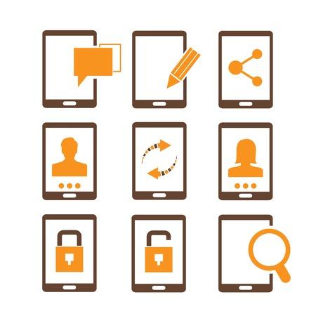 smart phone icons orange theme Vector