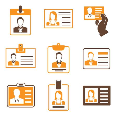 hand holding id card: business cards orange theme