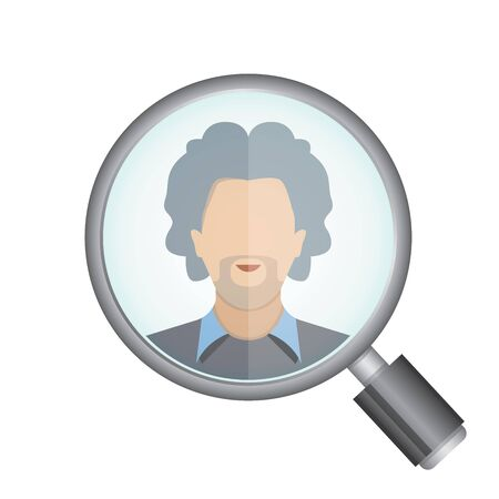 metier: magnifier glass and a man