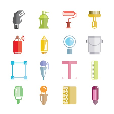 painting tools icons Vector