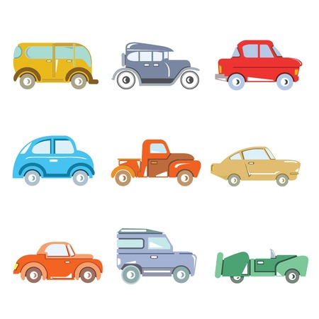 truck repair: vintage car icons Illustration