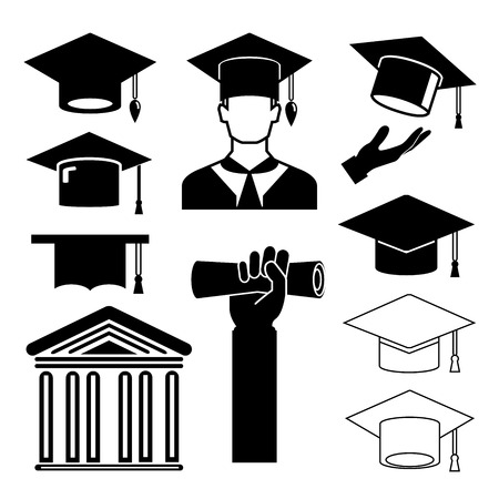 college students on campus: graduation cap icons