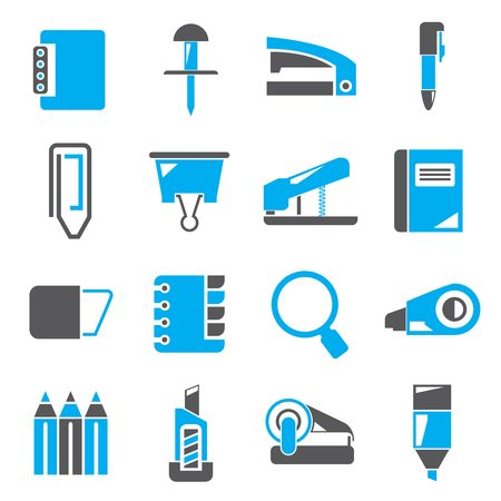 office supply icons blue theme Illustration