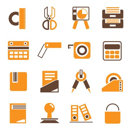 office supply: office supply icons orange theme