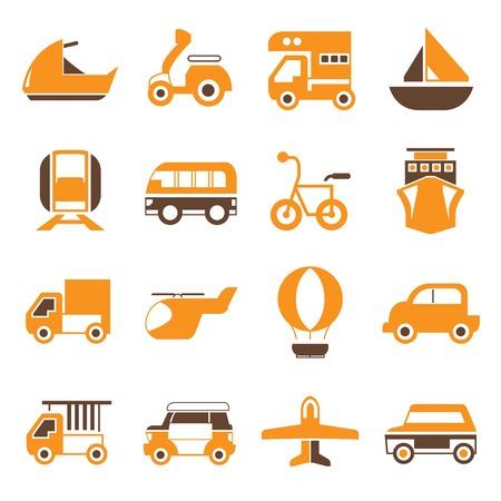portage: vehicle icons orange theme Illustration