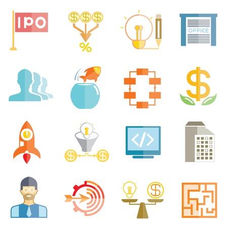 stock market launch: start up business icons Illustration