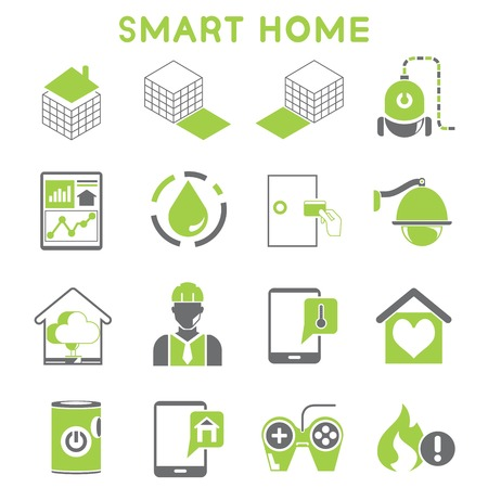 keycard: smart home icons green color design