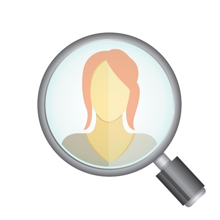 magnifying: magnifying glass searching a women