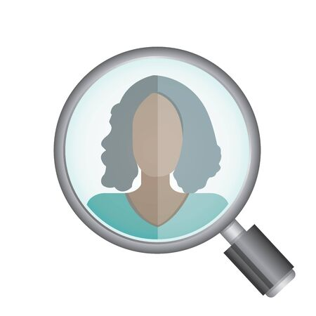 metier: magnifying glass searching a women