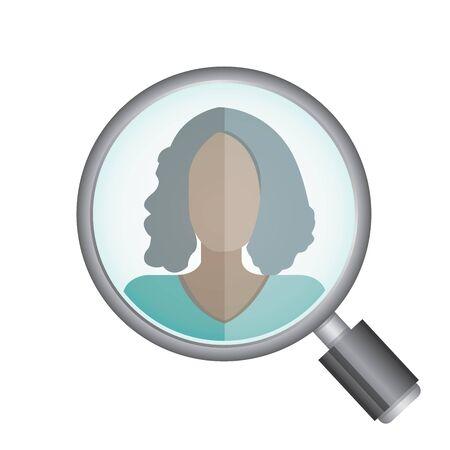 chosen: magnifying glass searching a women