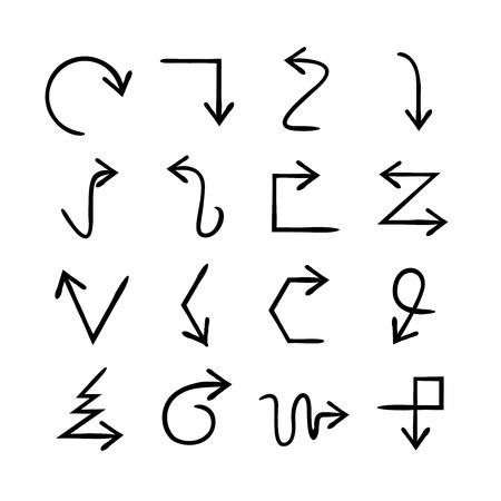 lineas rectas: flechas drenaje de la mano Vectores