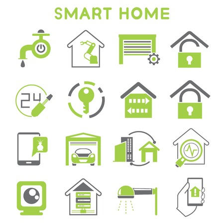 smart home icons black and green color design Vector