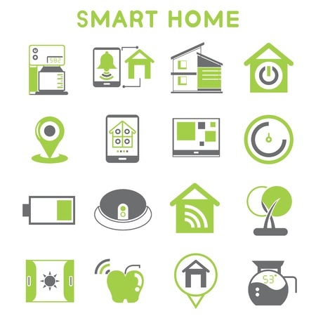 smart home icons black and green color design