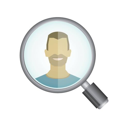 metier: magnifying glass searching a man Illustration