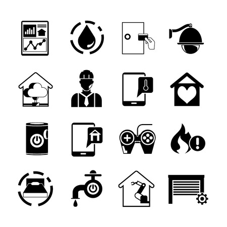 electronic security: smart home icons