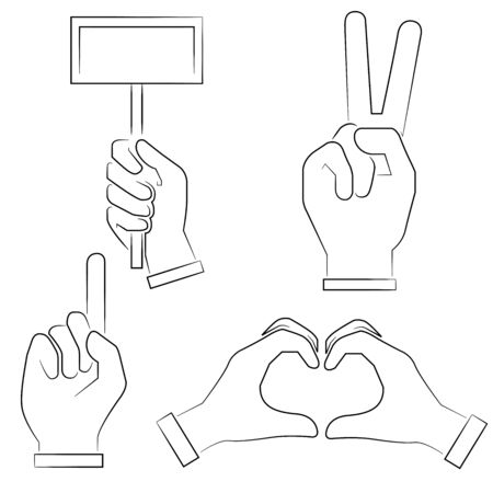 hand signs: sketch hand signs Illustration