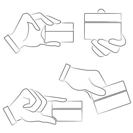 hand holding card: hand houden card Stock Illustratie