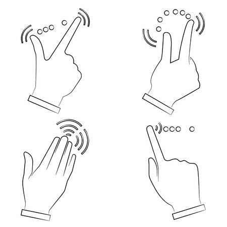 multitouch: sketch hand touching screen symbol