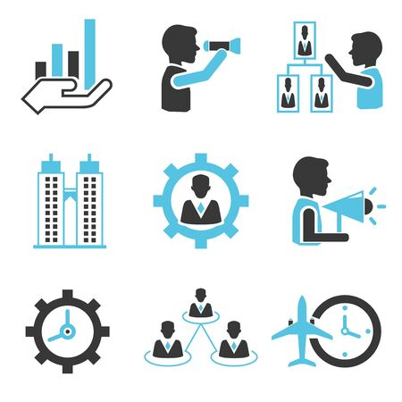 dealings: business management icons Illustration