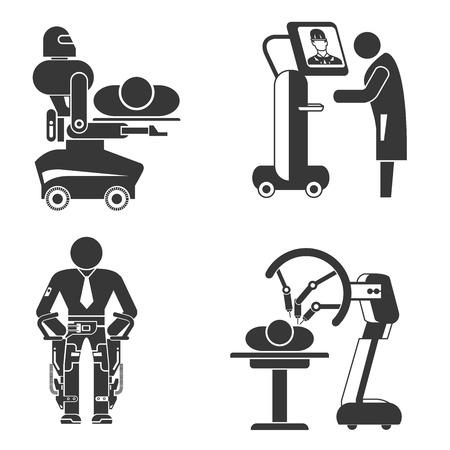 colonoscopy: surgery robot icons