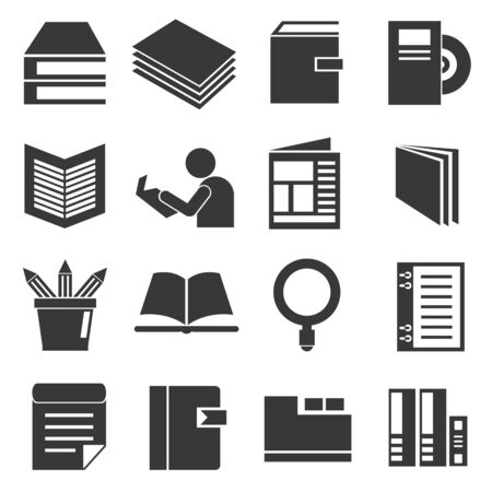 pile of documents: book and document icons