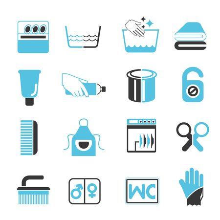 laundry hanger: Iconos de la limpieza, de color azul