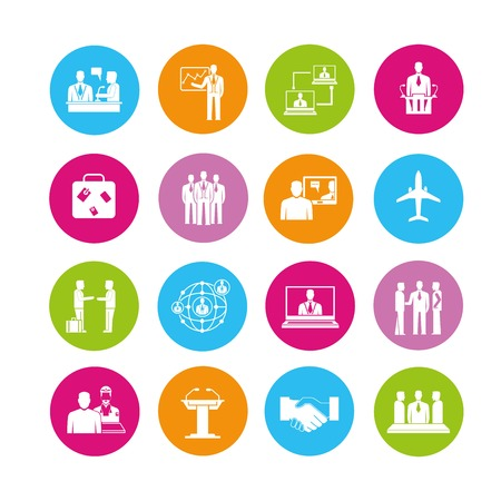collaboration: business meeting icons Illustration