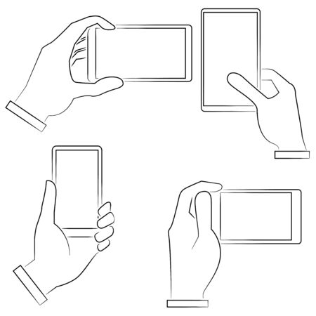 hand phone: sketched hand holding smart phone
