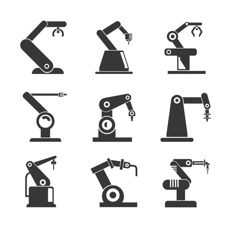 industrial robot icons 向量圖像