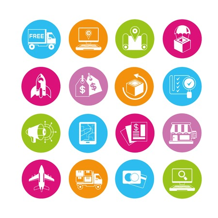 e commerce: e commerce icons, shipping icons Illustration