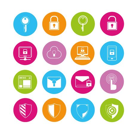 security lock: key icons, security icons Illustration