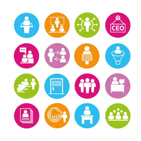 ceo: organization management icons